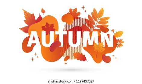 Horizontal abstract geometric design for autumn promotion. Fall offer banner with vector liquid form and decor maple leaf on background. Orange template graphic elements with fluid dynamic shape.