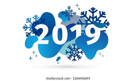 Horizontal abstract geometric design for happy new year 2019. Holiday offer banner with vector liquid form and decor snowflakes on background. Blue template graphic elements with fluid dynamic shape.