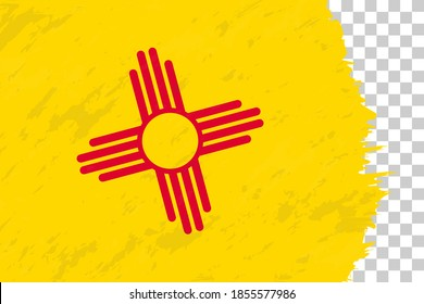 Horizontal Abstract Grunge Brushed Flag of New Mexico on Transparent Grid. Vector Template.