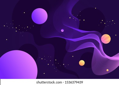 Horizontal abstract space vector banner. Universe, planets and stars. Milky Way. Cartoon illustration