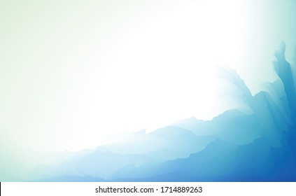 Horizontal abstract vector background in tender blue colors. Blurry seabed landscape. Illustration of calm and peaceful underwater view for wallpaper, banner or poster.
