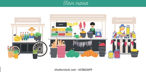 Horizontal advertising banner on farm market theme, organic food. Different vendors, local shop. Farmers sell fresh products, vegetables, fruits, bread, drink. Colorful vector illustration.