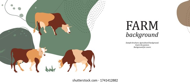 Horizontal agricultural background. Cow silhouette made of multi-colored segments. Background for covers, flyers, banners.