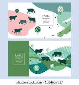 Horizontal agricultural banner. Geometrical composition. Background for covers, flyers, banners. Silhouettes of cows.