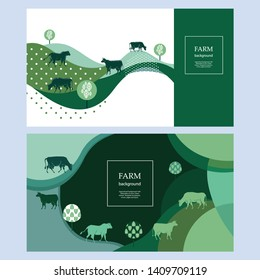 Horizontal agricultural banners. Geometrical composition. Background for covers, flyers, banners. Silhouettes of cows.