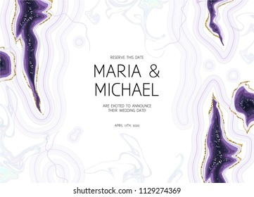Horizontal amethyst crystal geode purple and white marbled vector frame.Stylish ultraviolet texture card.Gold border.Sparkling gems.Natural stone.Trendy wedding invitation.All elements are isolated