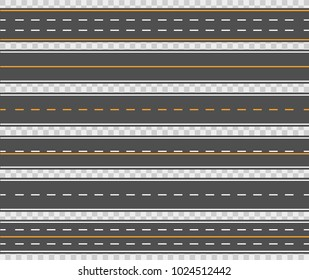 Horizontal asphalt roads. Long narrow stretch with a smoothed or paved surface for traveling by motor vehicle. Blacktop on city driveway. Vector flat style cartoon road illustration