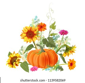 Horizontal autumn border: orange pumpkin, yellow sunflowers, gerbera daisy flower, small green twigs of Asparagus on white background. Digital draw, illustration in watercolor style for design, vector