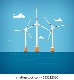 Horizontal Axis Wind Turbines at the Sea off the Coast , Offshore Wind Farm, Vector Illustration