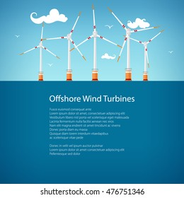 Horizontal Axis Wind Turbines at Sea off the Coast , Offshore Wind Farm, Poster Brochure Flyer Design, Vector Illustration