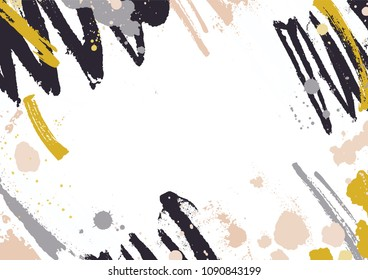 Horizontal backdrop with abstract yellow and black paint stains, blotches and brush strokes on white background. Artistic decorative frame or border with smears and scribble. Vector illustration