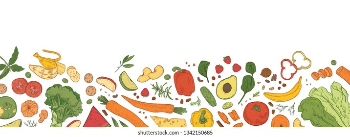 Horizontal backdrop with border consisted of fresh organic food. Banner template with tasty eco wholesome ripe vegetables, fruits, delicious healthy products. Hand drawn realistic vector illustration.