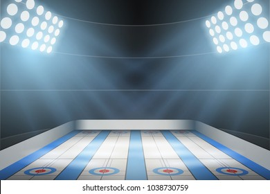 Horizontal Background of curling ice arena in the spotlight. Curling indoor rink. Editable Vector Illustration.