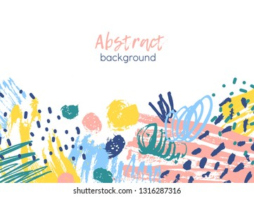 Horizontal background decorated by colorful chaotic paint traces, brushstrokes, scribble, daub, stains, blots. Creative artistic backdrop. Vivid decorative vector illustration in modern art style.