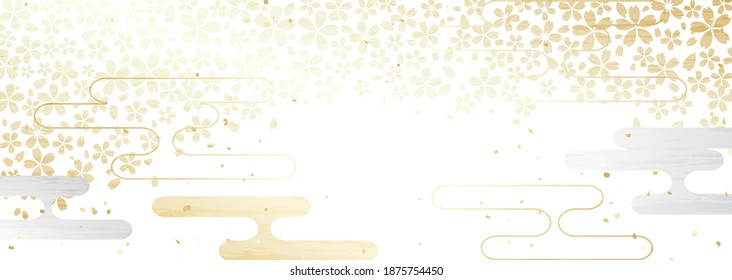 Horizontal background illustration of traditional Japanese cherry blossoms and cloud pattern