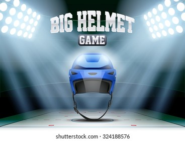 Horizontal Background night ice hockey stadium in the spotlight with big helmet. Editable Vector Illustration.