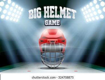 Horizontal Background night ice hockey stadium in the spotlight with big goalie helmet. Editable Vector Illustration.