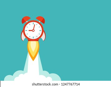 horizontal background with red alarm clock rocket ship with fire and clouds. time, watch, limited offer, deadline symbol. Vector illustration on blue. Time to work. Countdown shuttle