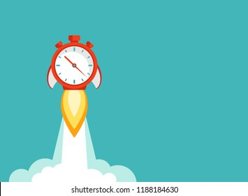 horizontal background with red stopwatch rocket ship with fire and clouds. Fast time stop watch, limited offer, deadline symbol. Vector illustration on blue. Time to work. Countdown shuttle