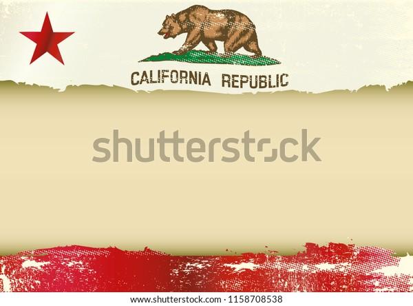 Arrière-plan horizontal avec un drapeau rayé de Californie et un cadre pour votre message