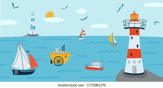 Horizontal background with seascape in flat style . Summer banner with ships, a lighthouse, boat. Vector illustration
