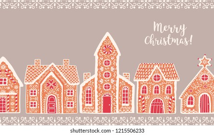 Horizontal background with traditional gingerbread houses and Merry Christmas lettering. Festive backdrop decorated by baked sweet products. Holiday colorful vector illustration in flat cartoon style.