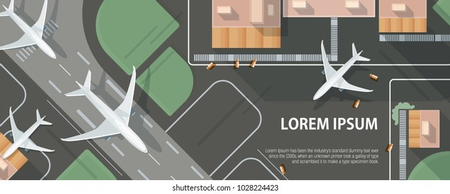 Horizontal banner with airplane taxiing and preparing for take off on runway, top view. Passenger aircraft beside airport building and place for text. Colorful vector illustration in flat style.