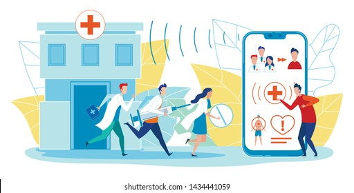 Horizontal Banner Ambulance Application Flat. Patient Man Calls Ambulance by Phone Through Application. Professional Doctors Rush to Emergency Call Help Patient. Vector Illustration.
