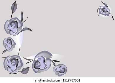 Horizontal banner with ashes roses on gray pastel background and with place for text. Vector illustration for holiday romance card.