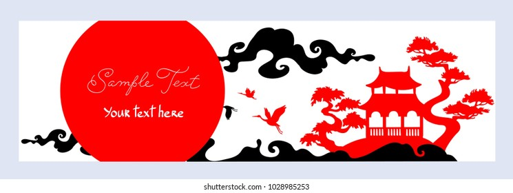 Horizontal banner. Asian Landscape with traditional architecture