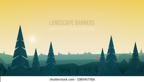 Horizontal banner with beautiful forest landscape or woodland scenery. Spectacular view with spruce trees and small house or cabin in woods against beautiful sky on background. Vector illustration
