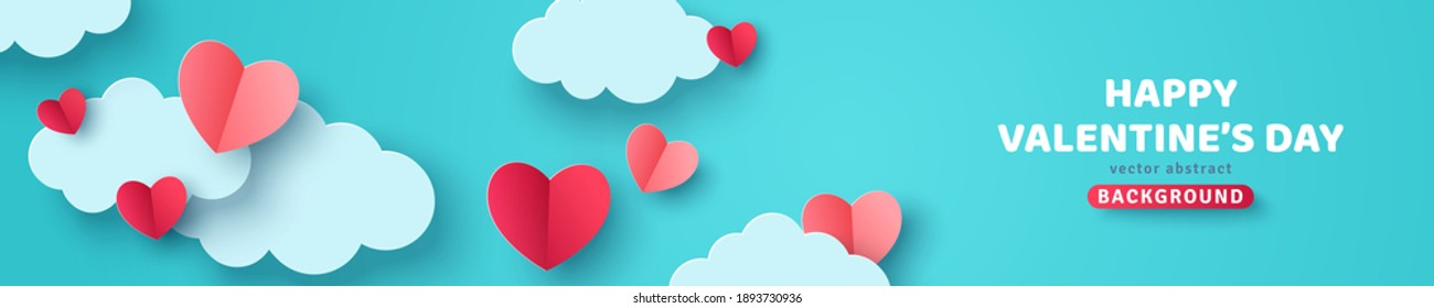 Horizontal banner with blue sky and paper cut clouds. Place for text. Happy Valentine's day sale header or voucher template with hearts.
