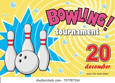 horizontal banner of a bowling tournament, vector illustration