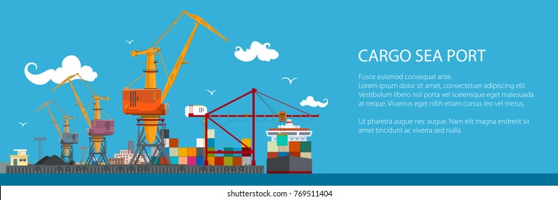 Horizontal Banner of Cargo Seaport , Cranes in Port Load Containers on the Ship or Unload, Poster Brochure Flyer Design, Vector Illustration
