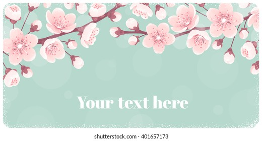 Horizontal banner with cherry blossom, spring flowers. Retro vector illustration. Place for your text. Design for invitation, card, poster, flyer, label