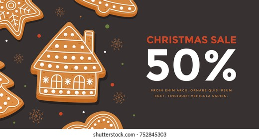 Horizontal banner Christmas sale with gingerbread house. Template New year gift certificate and discount coupon. Vector illustration.