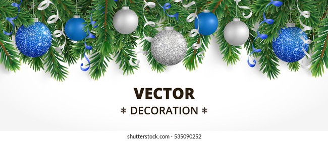 Horizontal banner with Christmas tree garland and ornaments. Hanging blue and silver balls and ribbons. Great for flyers, posters, headers. Vector illustration