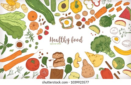 Horizontal banner with frame consisted of different healthy or wholesome food, fruit and vegetable slices, nuts, eggs and bread hand drawn on white background. Bright colored vector illustration.