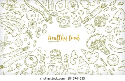Horizontal banner with frame consisted of different healthy or wholesome food, fruit and vegetable slices, nuts, eggs and bread hand drawn on white background. Contour vector illustration.