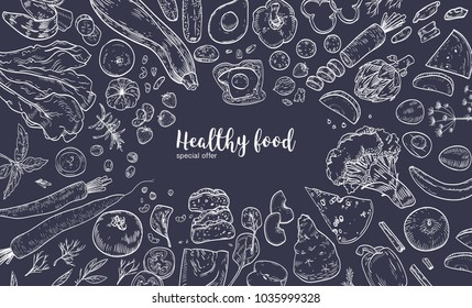 Horizontal banner with frame consisted of various healthy or wholesome food, organic products, fruits and vegetables hand drawn with white contour lines on black background. Vector illustration