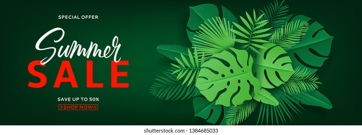 Horizontal banner with green leaves for summer sale. Vector illustration with tropical leaves in paper cut style on dark green background.