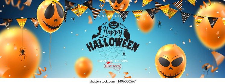 Horizontal banner for Halloween sale. Vector illustration with realistic orange air balloons with scary smiles on blue backgrund. Halloween sale background with serpentine, garlands and confetti.