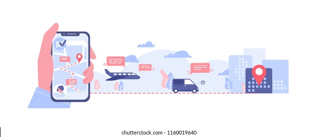 Horizontal banner with hand holding smartphone with map on screen, various types of transport and location mark. Order delivery online tracking. Colorful vector illustration in flat cartoon style.