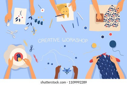 Horizontal banner with hands creating handmade works - drawing, woodblock printing, beadwork, embroidering, knitting, scrapbooking. Creativity lesson or workshop for kids. Flat vector illustration