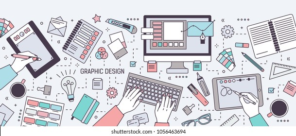 Horizontal banner with hands of designer working in digital vector editor or drawing on tablet surrounded by stationery and art tools. Graphic design. Colored vector illustration in line art style.