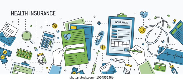 Horizontal banner with hands filling out form of health insurance surrounded by dollar banknotes and coins, pills and other medications, medical tools. Colored vector illustration in line art style.