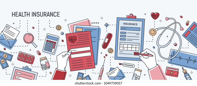 Horizontal banner with hands filling out application form of health insurance surrounded by dollars, paper documents, medical equipment and tools, pills. Colored vector illustration in line art style