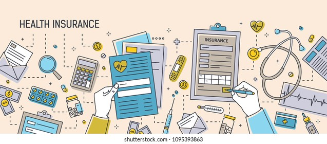 Horizontal banner with hands filling out health insurance documents surrounded by paper forms, medications, medical equipment and tools. Colorful vector illustration in modern line art style