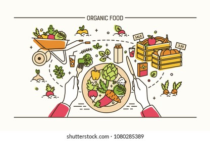 Horizontal banner with hands holding fork and knife and plate with healthy meal surrounded by fruits, vegetables, wheelbarrow, crates. Organic wholesome food. Vector illustration in line art style