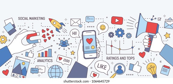 Horizontal banner with hands holding magnet, megaphone and smartphone with heart on screen surrounded by symbols and charts. Social media marketing, seo optimization. Modern vector illustration.